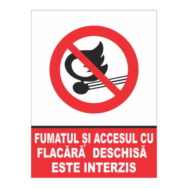 indicator fumatul si accesul cu flacara este interzis