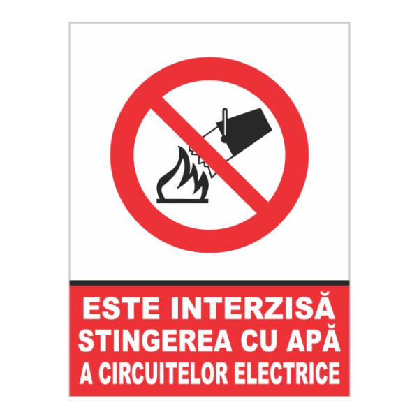 indicator interzisa stingerea cu apa