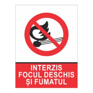 indicator interzis focul deschis si fumatul