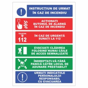 indicator instructiuni de urmat in caz de incendiu