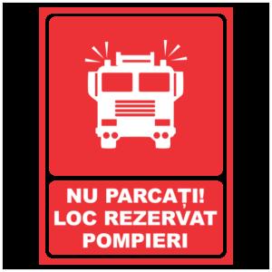indicator nu parcati loc rezervat pompieri